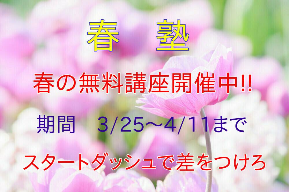 個別指導の学習塾 ウエキ啓心館の春の無料講座のお知らせです。